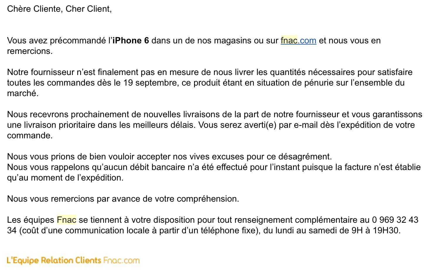 L'équipe Relation Clients FNAC vous informe